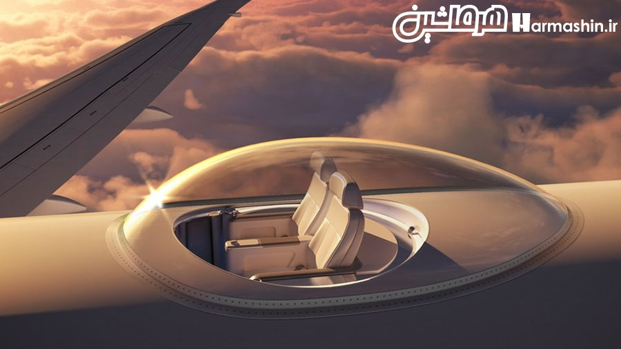 قرار دادن صندلی روی سقف هواپیما