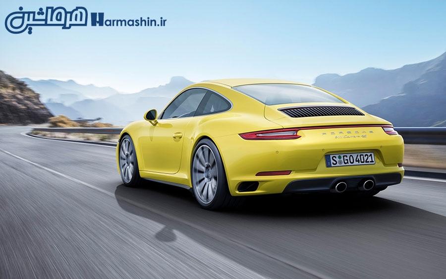 نمای پشت پورشه 911 کاررا مدل 2016 زرد